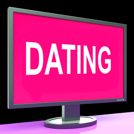 Online Dating Computer Showing Romance Date And Web Love photo