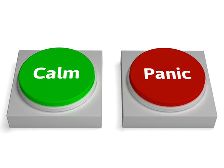 Calm Panic Buttons Showing Stressed Or Relaxation photo
