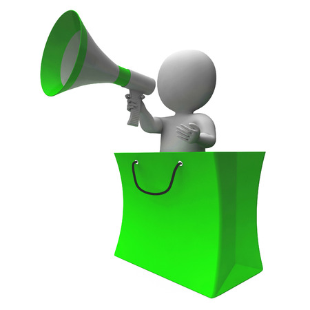 loud hailer: Loud Hailer Shopping Character Showing Sales Or Discounts Stock Photo
