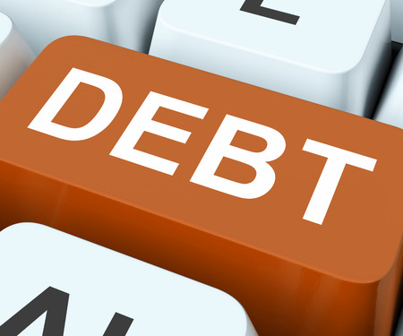 indebt: Debt Key Showing Financial Obligation Or Liability  Stock Photo
