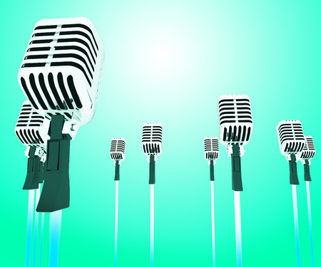 hits: Microphones Micl Showing Music Groups Band Or Singing Hits Stock Photo