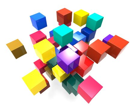 disorganization: Exploding Blocks Showing Scattered Puzzle And Explosion Stock Photo