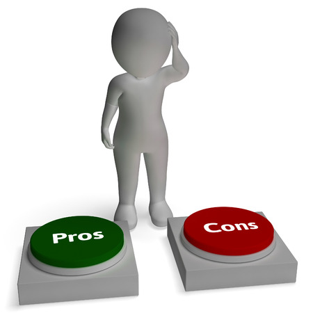 evaluacion: Pros Contras Botones Muestra de Evaluación Con Pro Foto de archivo