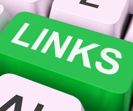 backlink: Links Key Showing Backinks Linking And Seo