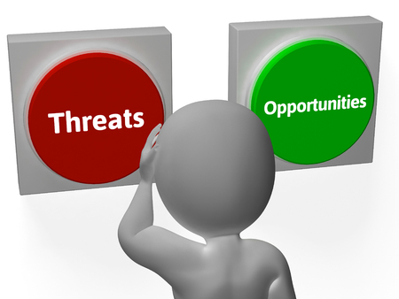 Opportunities Threats Buttons Showing Tactics Or Analyzing