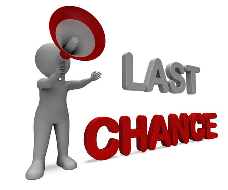 Last Chance Character Showing Warning Final Opportunity Or Act Now Stok Fotoğraf
