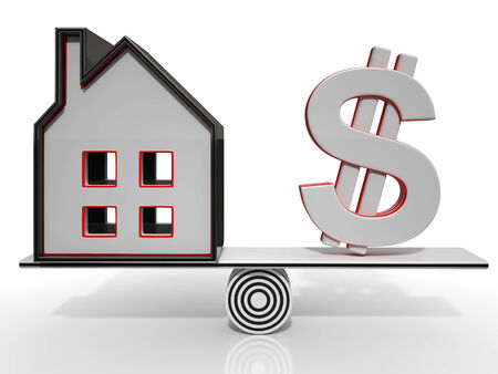 mortgaging: House And Dollar Balancing Show Investment Or Mortgage