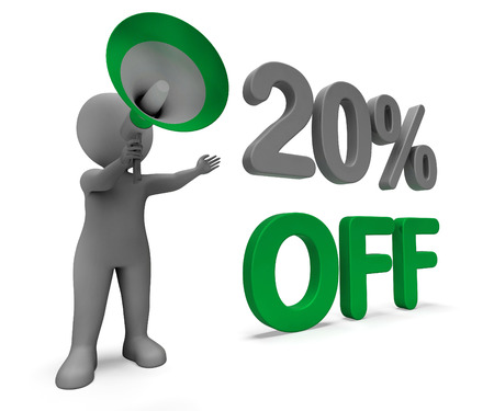 discounted: Twenty Percent Off Character Meaning Discounted Offer Or Sale 20% Stock Photo