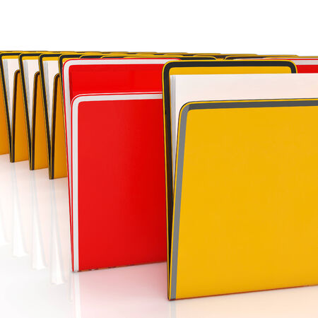 organised: Folders Shows Organising Information Filing And Reports Stock Photo