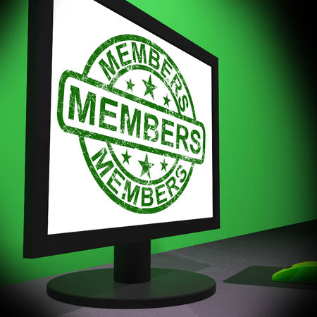 subscribing: Members Computer Showing Membership Registration And Internet Subscribing