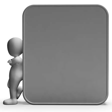 Character Leaning On Copyboard Blank Board Allows Message Or Presentation Stock Photo