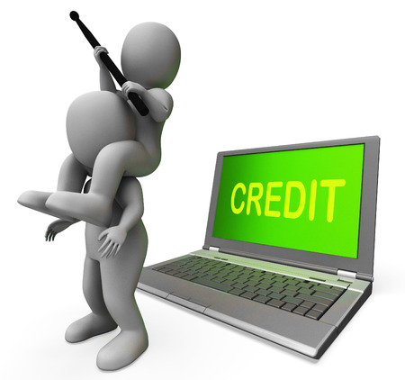 Credit Laptop Characters Showing Borrowers Or Loans For Buying Stock Photo - 26064275