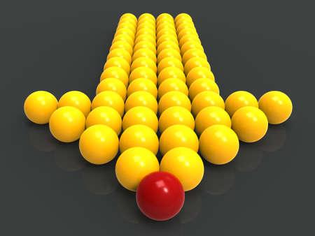 accomplishing: Leading Metallic Balls In Arrow Showing Leadership And Vision Stock Photo