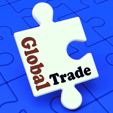 multinational: Global Trade Puzzle Showing Multinational Worldwide International Business Stock Photo