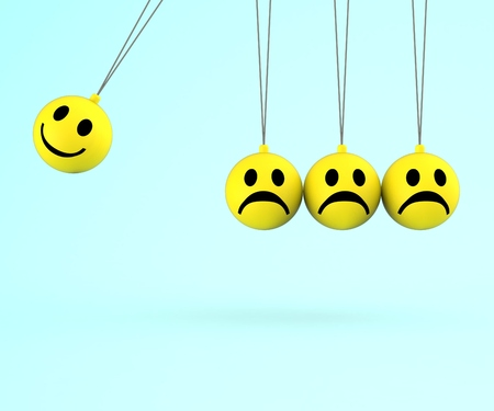 amabilidad: Feliz y triste Smileys Muestra positivas emociones negativas Foto de archivo