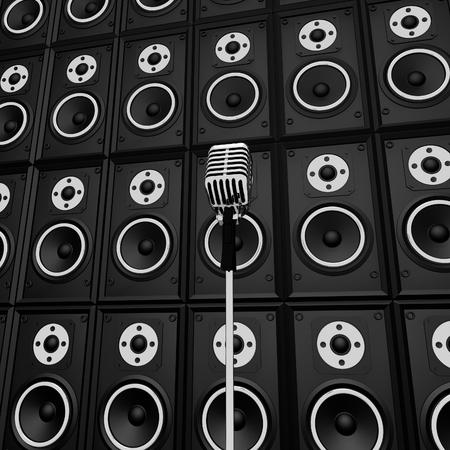 loud speakers: Microphone And Loud Speakers Showing Music Industry Performing Or Entertaining Stock Photo