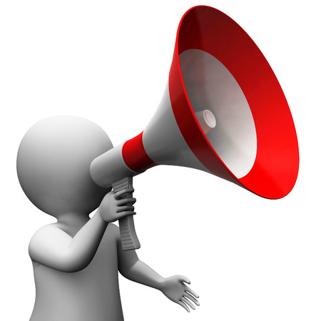 announce: Megaphone Character Showing Speech Shouting Announcing And Announce Stock Photo