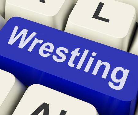 grappling: Wrestling Key Showing Wrestler Fighting Or Grappling Online