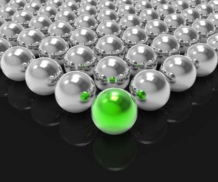 accomplishing: Leading Metallic Ball Shows Leadership Accomplishing Or Winning Stock Photo