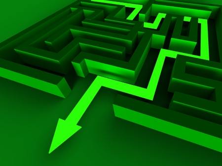 way out: Exit Maze Showing Puzzle Way Out Strategy