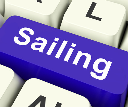 seafaring: Sailing Key On Keyboard Meaning Seafaring Voyaging Or Travel By Water  Stock Photo