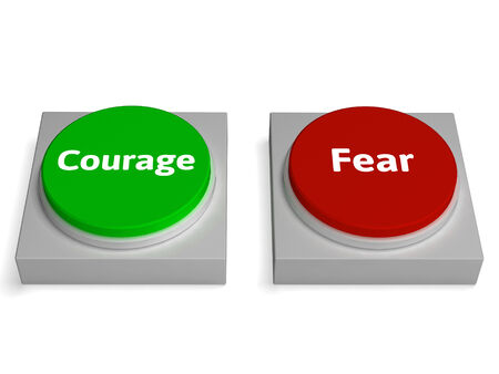 braveness: Courage Fear Buttons Showing Bravery Or Scared Stock Photo
