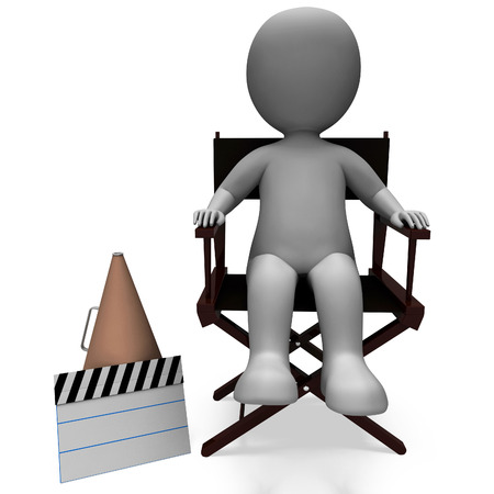 filmmaker: Film Director Character Showing Director Or Filmmaker