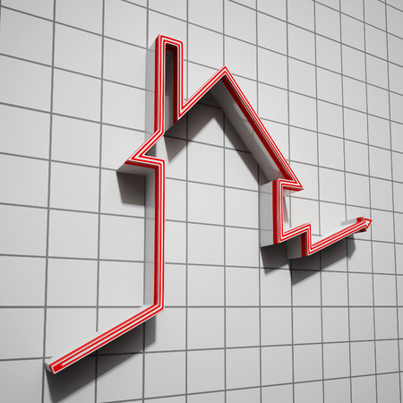 House Icon Shows House Or Building Price Going Up