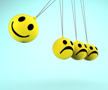 Glückliche und traurige Smileys anzeigen Positive Negative Emotionen