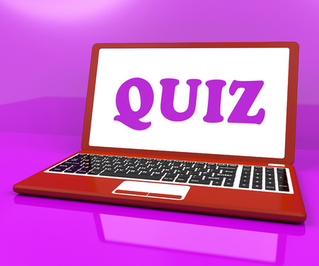 Quiz Laptop Meaning Test Quizzing Or Questions Online photo