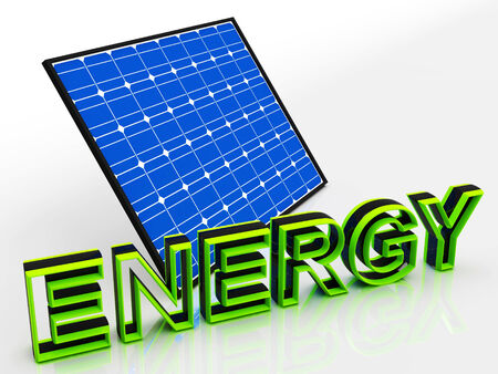 solarpanel: Solar Panel And Energy Word Showing Alternative Energies
