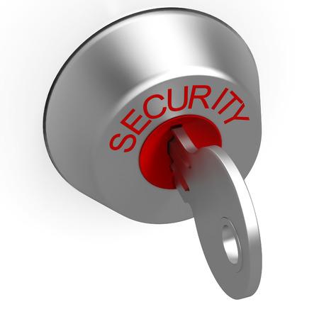 sauvegarde: Cl� dans la serrure de s�curit� Affichage de sauvegarde ou de protection Banque d'images