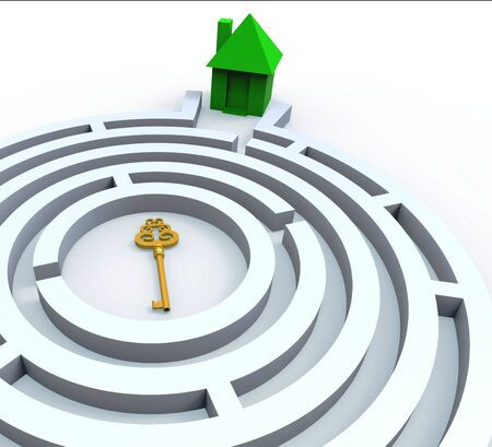 Key To Home In Maze Shows Property Or House Search