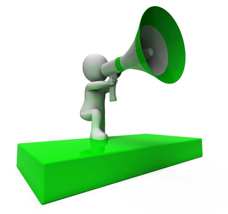 loudhailer: Loud Hailer Car�cter Mostrando Anuncios Explique Y Meg�fono