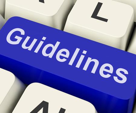 Richtlijnen Key Showing Begeleiding regels of beleid Stockfoto