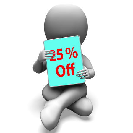 Twenty Five Percent Off Tablet Meaning 25% Discount Or Sale Online photo