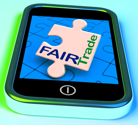 equitable: Fairtrade On Phone Showing Fair Trade Product Or Products Stock Photo