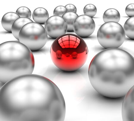 vision concept: Standing Out Metallic Balls Shows Leadership And Vision