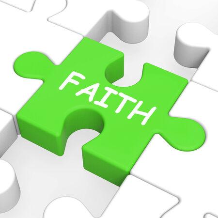 faithfulness: Faith Jigsaw Shows Spiritual Belief Or Trust