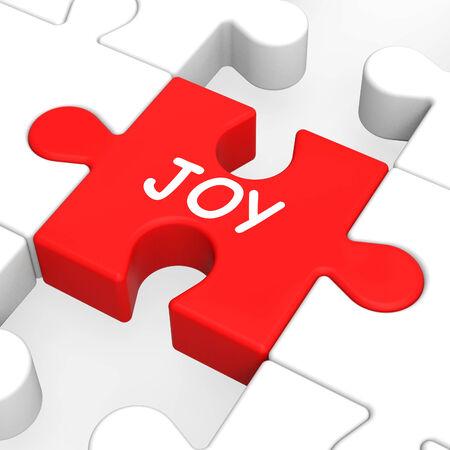joyousness: Joy Puzzle Showing Cheerful Fun Happy And Enjoy Stock Photo