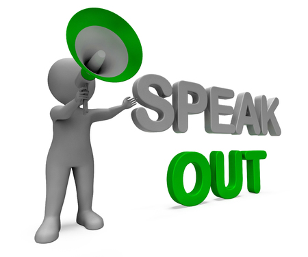 Speak Out Character Showing Be Heard Or Message