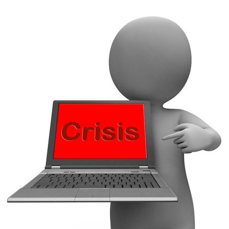 calamity: Crisis Laptop Meaning Calamity Trouble Or Dangerous Situation Stock Photo