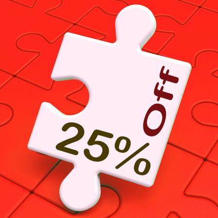 twenty five: Veinticinco por ciento Puzzle Off Significado reducci�n o venta del 25%