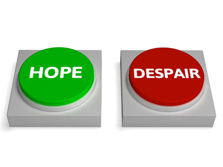 Hope Despair Buttons Showing Hopelessness Or Hopeful Stock Photo