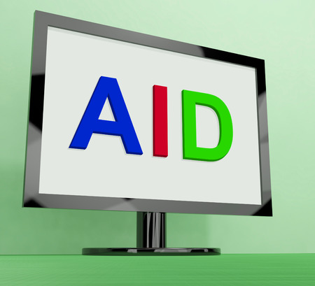 aiding: Aid On Monitor Showing Aiding Help Or Relief