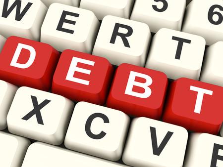 indebtedness: Tasti di debito Significato debiti Indebitamento o responsabilit� Archivio Fotografico