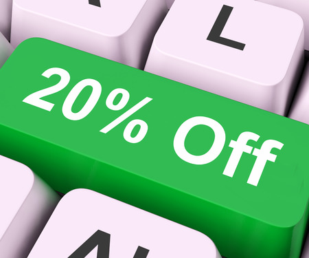 discounted: Twenty Percent Off Key On Keyboard Meaning Discount Rebate Or Sale  Stock Photo