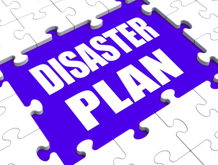 Disaster Plan Puzzle Showing Danger Emergency Crisis Protection Stock Photo