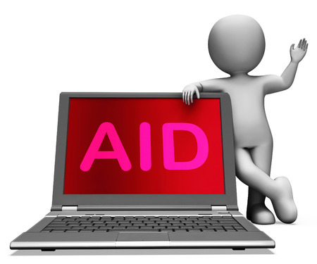 aiding: Aid And Character Laptop Showing Assisting Aiding Helping Or Relief