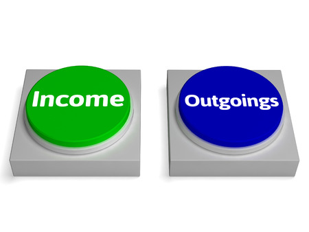 outgoings: Income Outgoings Buttons Showing Profits Or Expenses